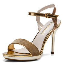 2016 New Fashion Open-toed Ankle Buckle Thin Heels Sandals For Women Size 38 39 Elegant Bling Female Pumps Shoes Discount Sale(China (Mainland))