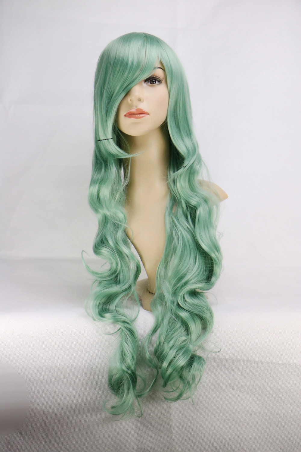 80 Cm COS Cosplay Wig Anime Costume Long Curly Wavy Synthetic Hair Green Wigs Women Ladies Party Perucas Pelucas<br><br>Aliexpress