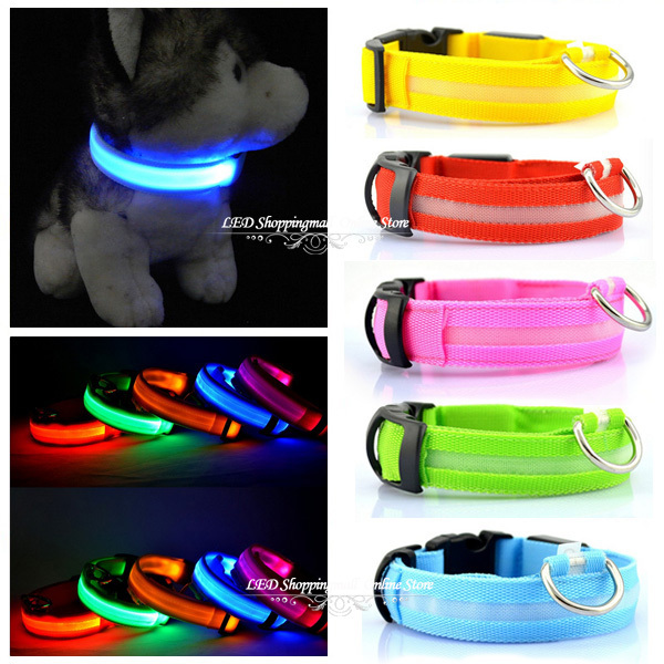 Glowing Dog Collar Pet Collar with Led Flashing Light Night Safety Pets Harnesses Glow in the Dark Dog Collars 2pcs/lot(China (Mainland))