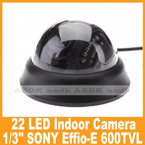 "Free Shipping!! 1/3"" Sony CCD 600TVL 22 LED IR Night Vision Black Indoor Dome Security Mini CCTV Video Camera (OSD Optional)(China (Mainland))"