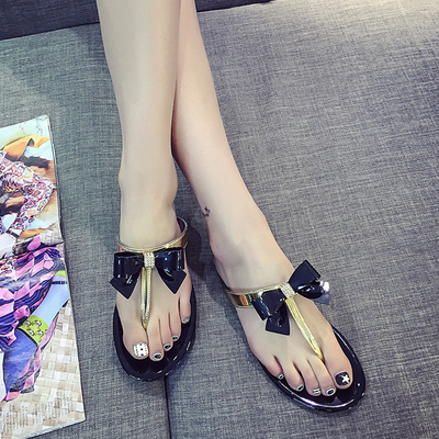 2016 Bow Thong Jelly Shoes Woman Jelly Flip Flops Women Sandals Ladies Flat Slippers Zapatos Mujer Sapatos Femininos new summer(China (Mainland))