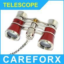 Exquisito teatro / ópera lente 3 x 25 óptica gafas Coated Binocular Telescope oro rojo negro envío gratis Dropshipping
