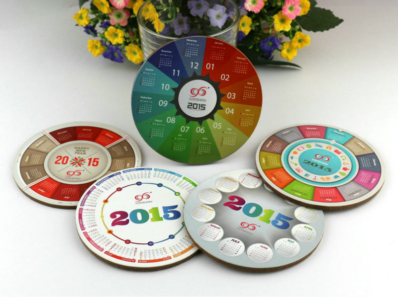 2015 customized calendar series round shape mdf cork mats heat resistant durable cup coasters(China (Mainland))