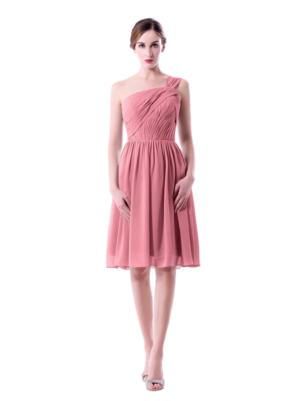 One Shoulder Knee Length Dusty Rose Bridesmaid Dress