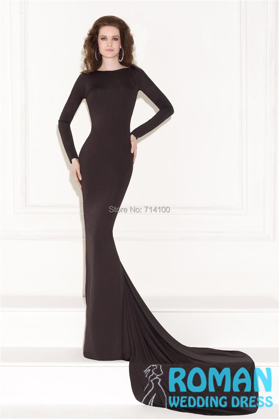 Black Lycra Sheath Boat Neck Long Sleeves Open Low Back Waist Beads New come 2015 Evening Dresses Vestidos De Noite - Sheepherder Store store