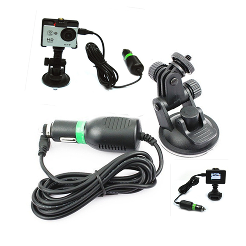 New Hot 2015 SJ4000 DC5V 1000mA Car Charger + Car Suction Cup Mount for sport action camera /SJ5000/sj4000