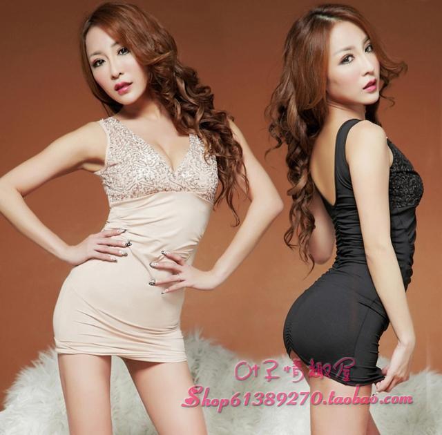 2015 slim one-piece dress spaghetti strap slim package hip paillette(China (Mainland))