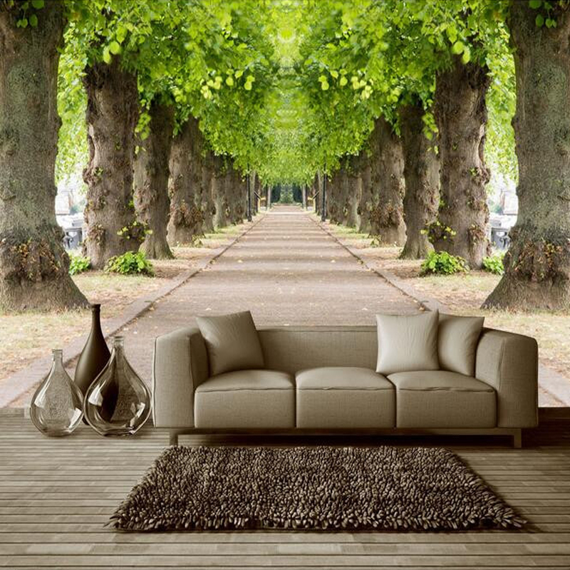 custom mural wallpaper forest road 3d living room sofa tv ba