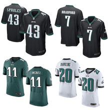 Men's #7 Sam Bradford Game 20 11 Carson Wentz Brian Dawkins Jerseys Adult 43 Darren Sproles 9 Nick Foles Stitched Free Shipping(China (Mainland))