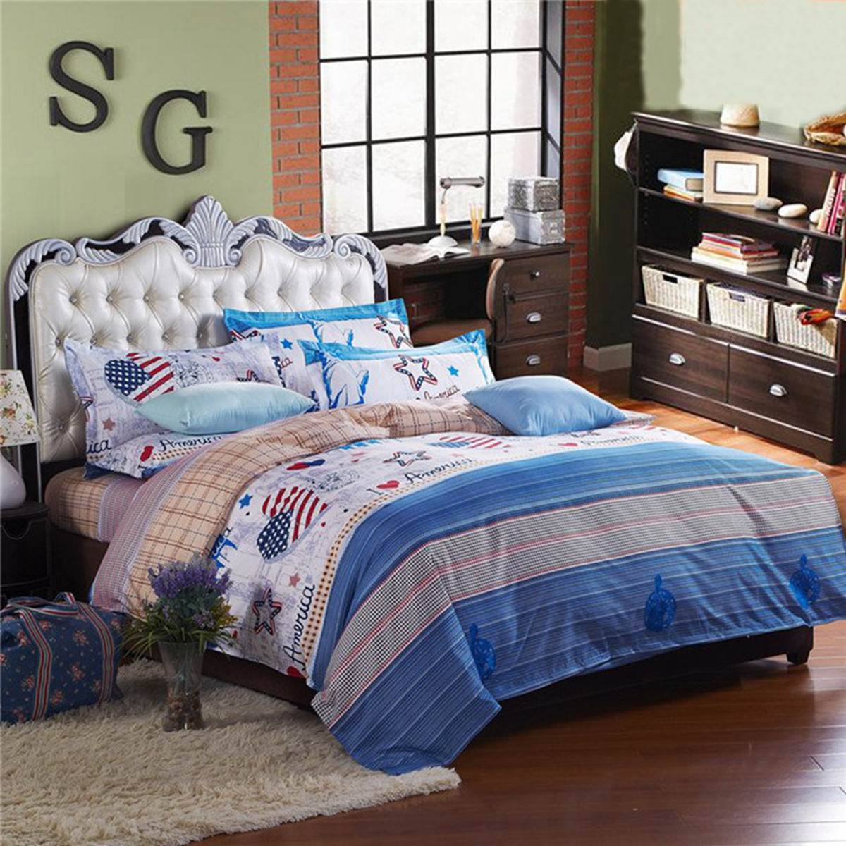 Fashion USA Heart Printed Bedding Sets American Party Single Double King Size Polyester Quilt Duvet Cover Pillowcases Bed Sheet