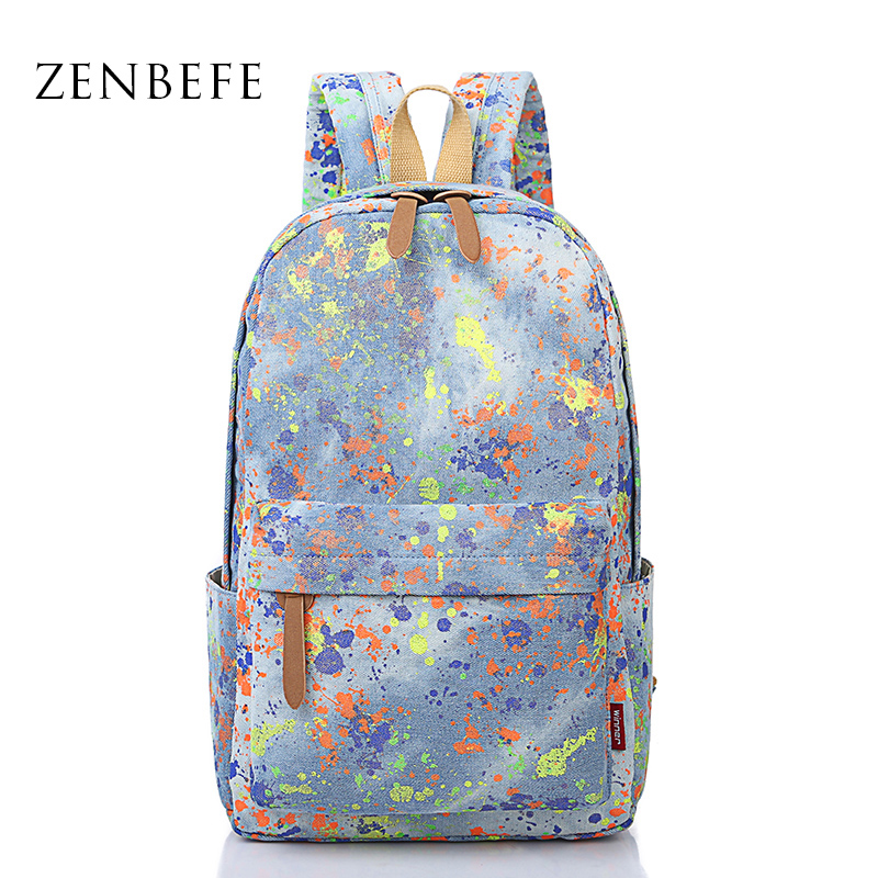 ZENBEFE Camouflage Canvas Backpacks Galaxy Star Printing Backpacks Women Backpack For School Teenagers Girls Fashion Laptop Bag(China (Mainland))