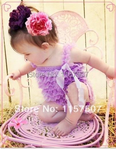 Posh Baby Solid Color Lace Romper Girls Lavender Lace Romper with Straps and Bow 2 pcs / a lot(China (Mainland))