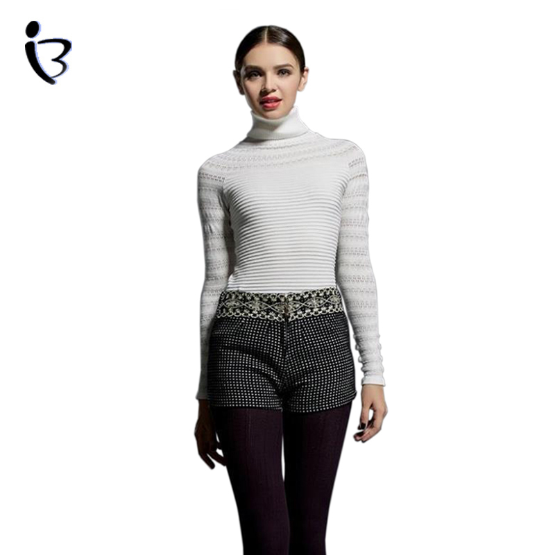 Autumn Winter Women Sweater and Pullovers 2015 New Fashion Long Sleeve Sexy Slim Turleneck Jumper Knitwear Striped Chompas Mujer(China (Mainland))