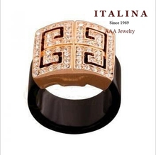 310894 High Quality 18KGP Rose Gold Plated Jewelry Fashion Luxury Big Hollow Austrian Crystal Ring for Women