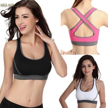 Hot Sexy Woman Sport Top Fitness Women Running Gym Jogging Racerback Sports Bra Tank Padded Underwear Tennis Vest Crop Top 15ZDD(China (Mainland))
