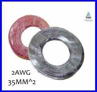 Hot Sell 5meters 35mm2 Solar Power Cable Solar Panel Electric Copper Wire Photovoltaic Cables 2AWG TUV Or UL Approved(China (Mainland))