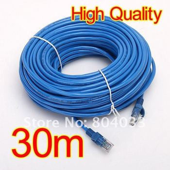 High Quality 30M 100 FT RJ45 M To M CAT5 CAT5E Ethernet Network LAN Blue Networking Cable, Free Drop Shipping