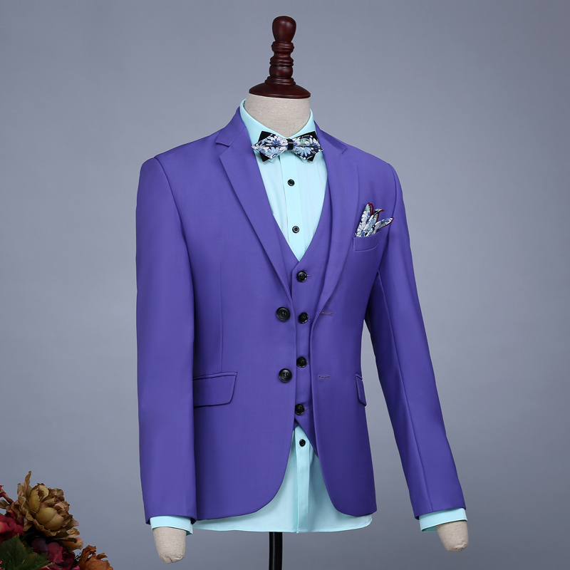 Men Slim Casual Purple Groom Married Wedding Suits Set Passionate Male Singer Host Evening Party Clothing Stage Wear Dress(China (Mainland))