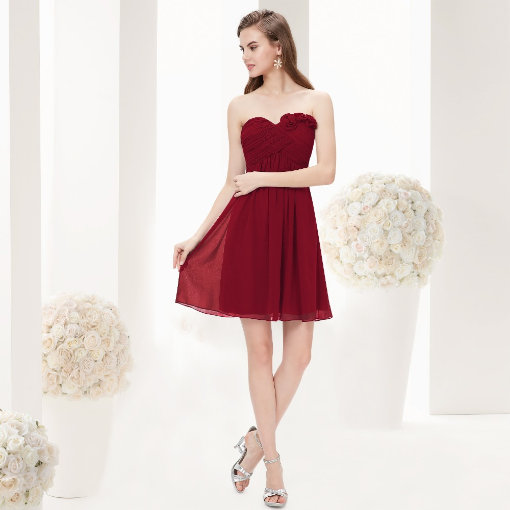 Strapless Flower Ruffles Wedding Chiffon Bridesmaid Dress Short 2016 New 3543 Royal Blue Purple