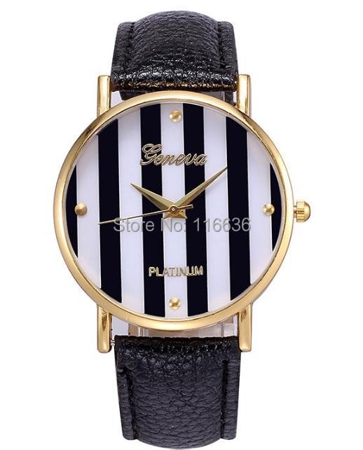10 pcs Geneva Platinum Stripes wristwatch women Ladies Casual korean pop style Quartz wach new 2014 multicolor<br><br>Aliexpress