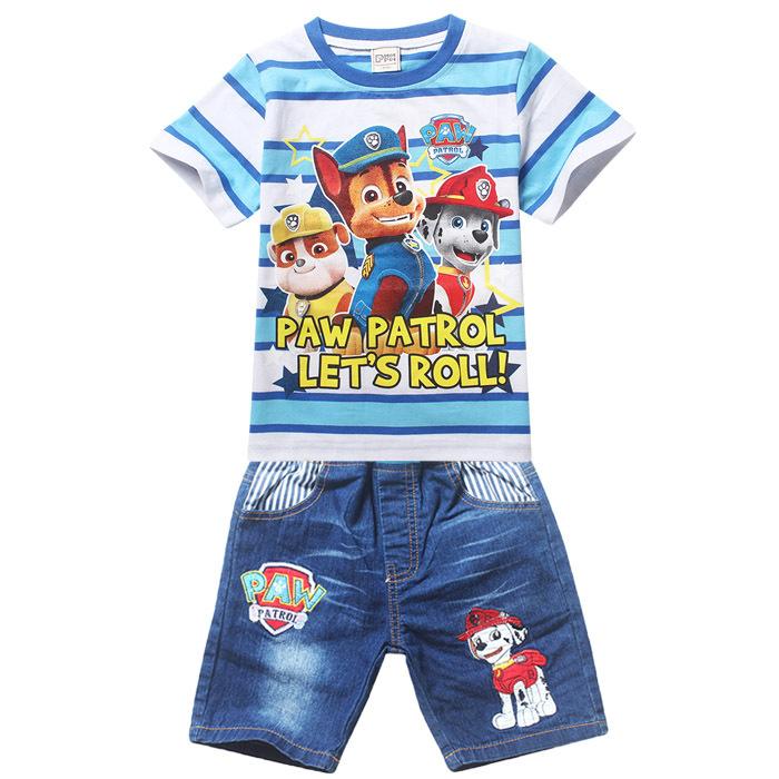 Paw Dog Patrol Children Girls Boys Cartoon sets Costume Clothing set for Kids Patrol Clothes Girls shorts T-shirts+Jeans pants(China (Mainland))