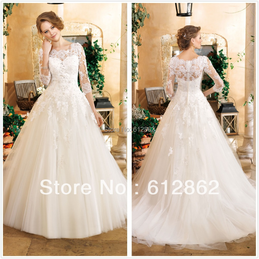 3 4 Sleeve Ball Gown Wedding Dress Of Buy New Arrival Ball Gown Long Train