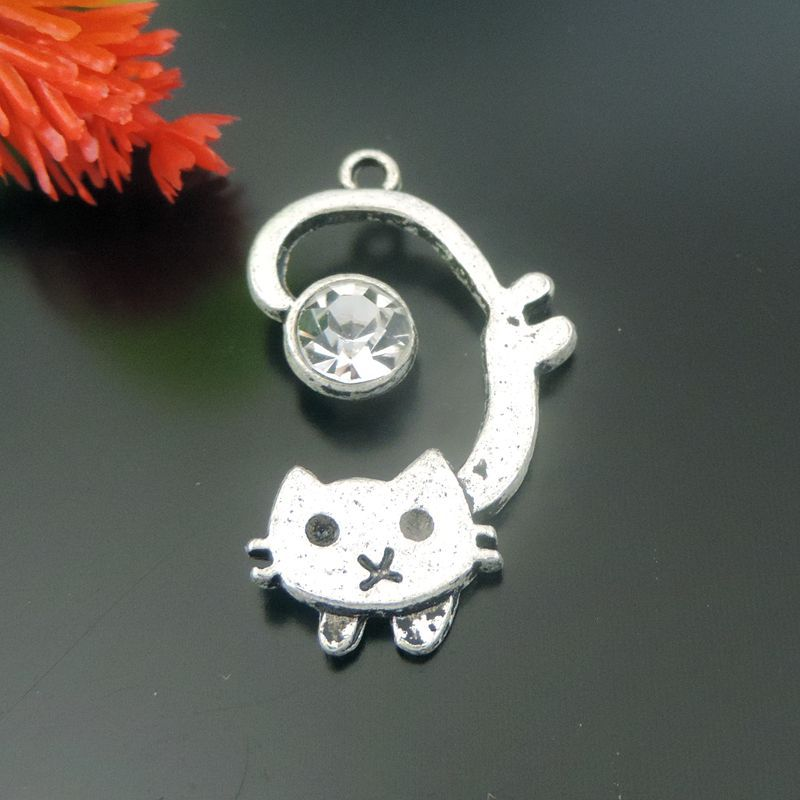 8PCS Vintage Antique Silver Plated Mini Small Cat Kitty Charms Zinc Alloy Made Jewelry Making Necklace Pendant 39576(China (Mainland))
