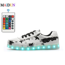 Remote Led Luminous Shoes for Adults Men USB Led Light Up Shoes Glowing Chaussure Tenis Led Flashing Lights Lady Casual Shoes(China (Mainland))