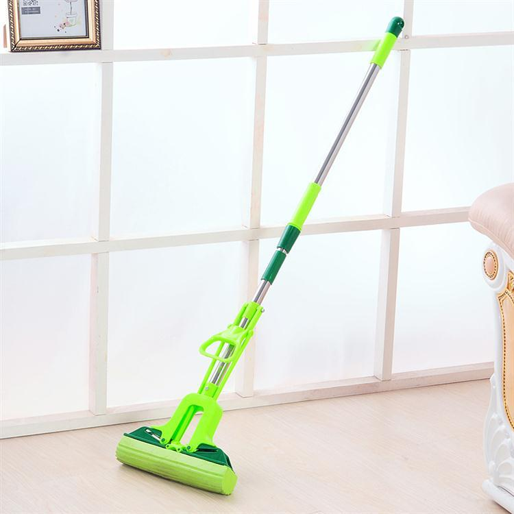 Household adjustable stainless steel rod on folding suction plastic cotton mop (64).(China (Mainland))
