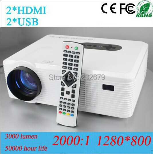 1280*800 Resolution HD Video Projector With 2hdmi &2usb &vga &tv Tuner Connect DVD/WII/PS3/Ipad/PC/TV 50000 Hour Led Lamp(China (Mainland))