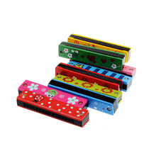 Free Shipping Wooden Painted Harmonica Children Musical Instrument Educational Music harmonica toy for kids all color random(China (Mainland))