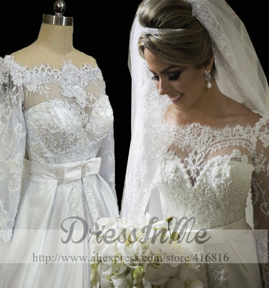 Scalloped Bateau Neckline Long Lace Sleeves Pearl Princess A Line Wedding Dress with See Through Lace Back Vestidos de Noiva(China (Mainland))