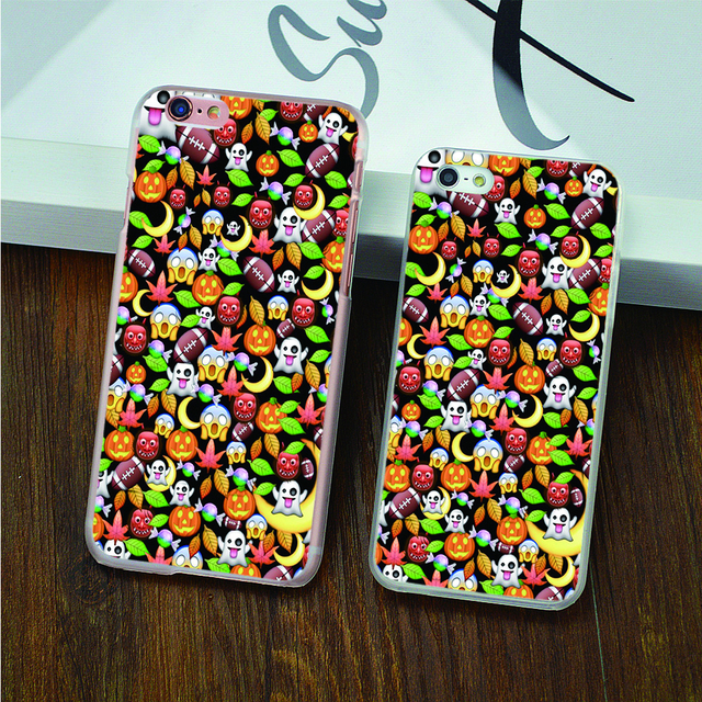 Halloween emoji hard transparent Case for iPhone 4 4s 5 5s 5c 6 6s 6 Plus 6s Plus phone cover shell