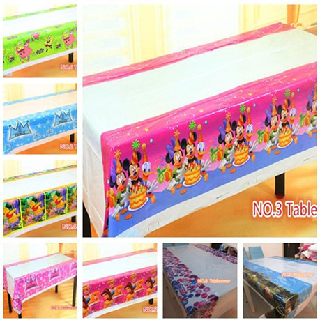 Lovely 108cm disposable Birthday tablecloth Cartoon Mickey princess crown kids happy birthday party plastic tablecover supplies(China (Mainland))