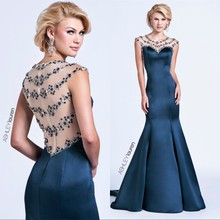 2016 Long Evening Dresses Sheer Neck Beaded Crystals Royal Blue/Ivory Formal Long Prom Dresses Sexy Mermaid Short Sleeves