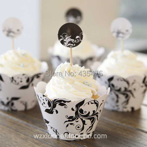 Vine Cupcake Wrappers Toppers Cake Decoration Thanksgiving Day Party Favors Suppliy :10 pack=120pcs wraps+120 topper(China (Mainland))