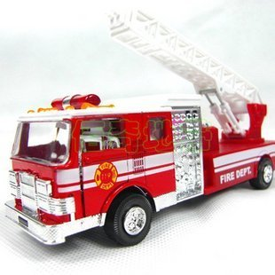 free shipping,The United States fire engines, cloud ladder car, fire truck toy sound and light alloy models