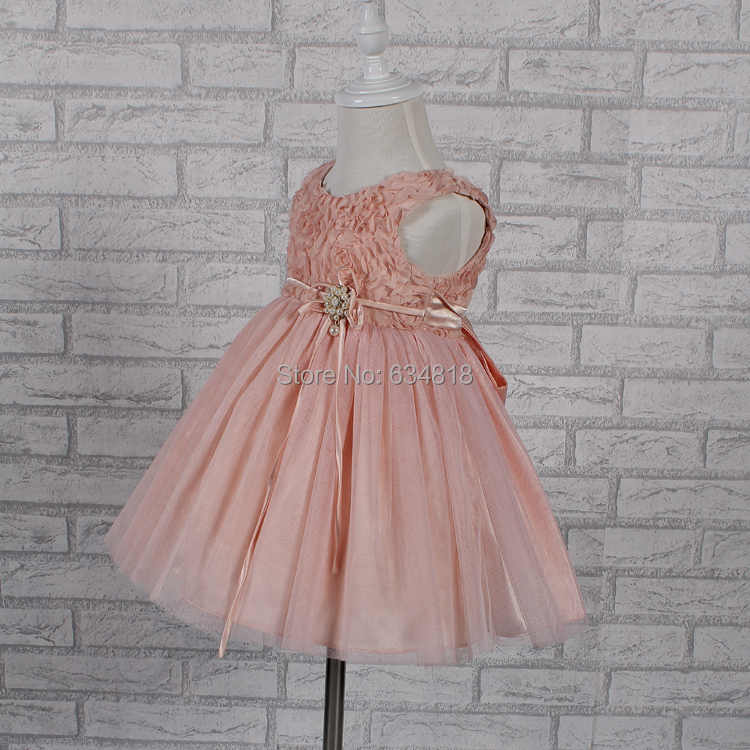 Free shipping infant dress pink baby girls dress for party kids dress for 1 year baby girl brithday dress hot sale me14(China (Mainland))