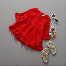 Red Christmas Girls Dress ,Ruffle Sleeve Autumn Western girls Outfit ,Red Ruffle Lace baby Girls dress