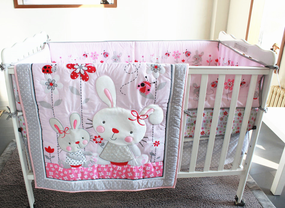 Promotion! 7PCS embroidery Cot Baby bedding sets Bed set in the ,include(bumper+duvet+bed cover+bed skirt)<br><br>Aliexpress