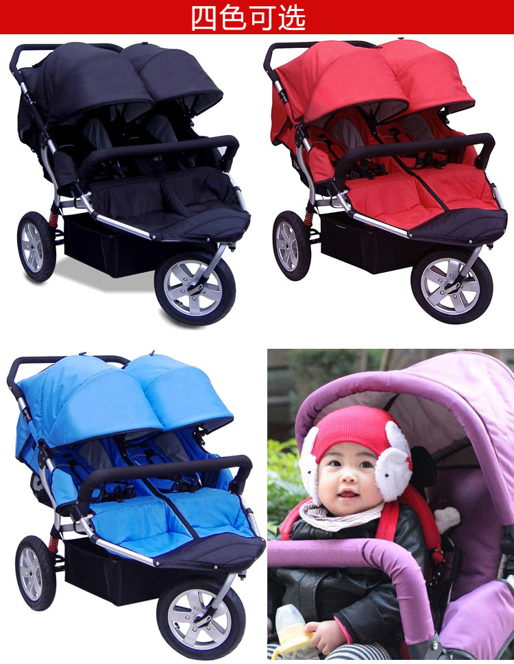 Big Three Wheels Luxury Double Baby Stroller,Baby Stroller for Twins,Five-point Safety Belt,Each Seat Width: 33CM,Free Shipping<br><br>Aliexpress