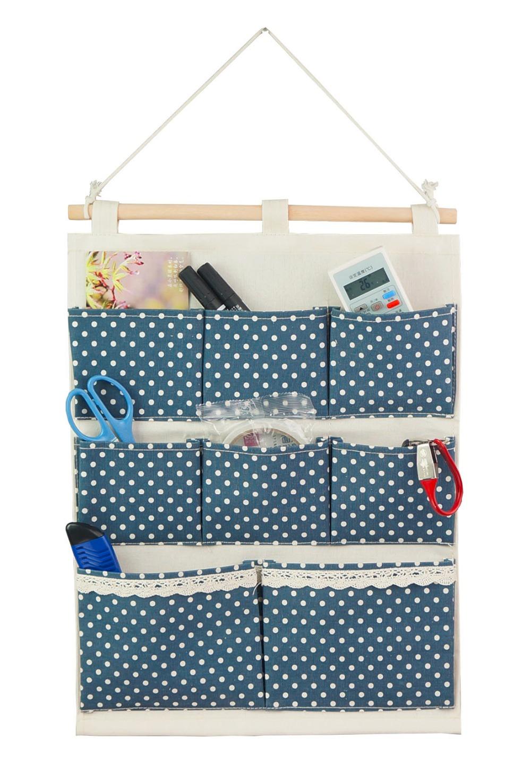 Linen Cotton Fabric Wall Door Closet Hanging Storage Bag Case 8 Pockets Home Organizer White
