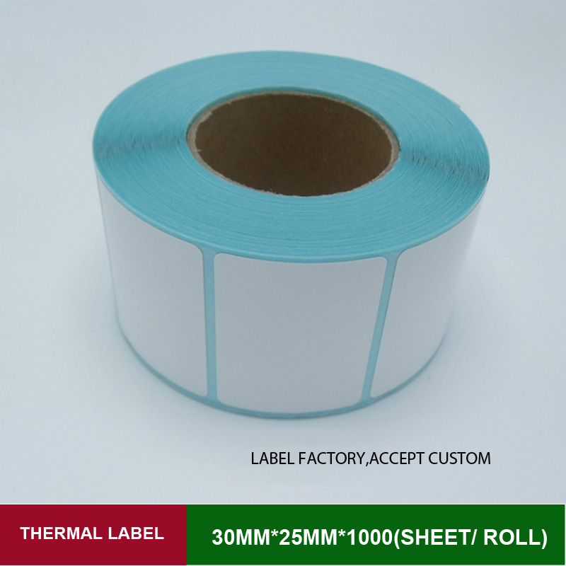 Thermal label self adhesive roll stickers paper 30*25mm single row 1000 sheets/roll customized logo printing sticker<br><br>Aliexpress