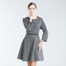 Women's autumn new 7 minutes of sleeve off two sets of hollow out tartan dress In the long contracted dress