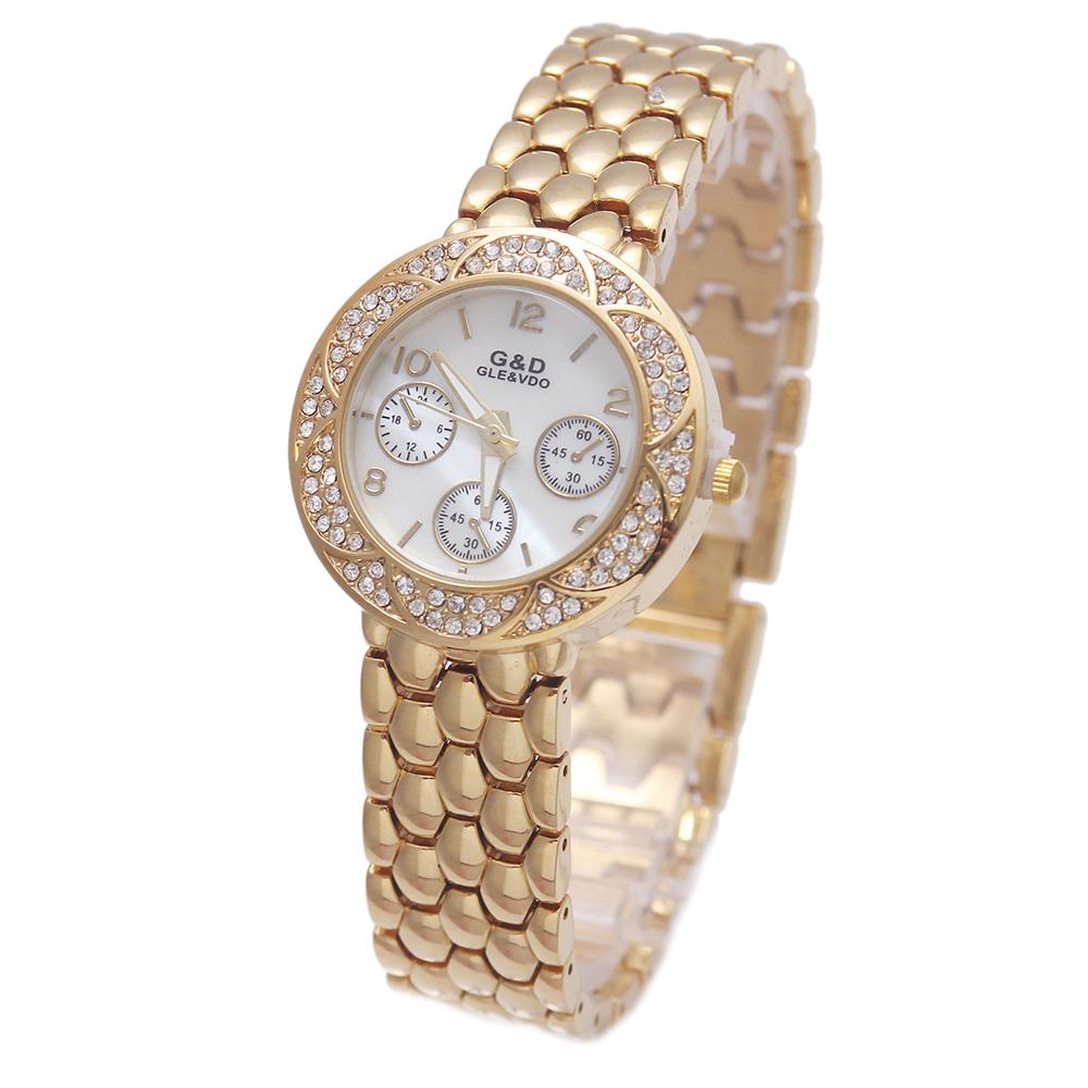 2016New Luxury G&amp;D Watch Women Analog Quartz Watch Stainless Steel Belt  Three Dial Relojes Mujer Fashion Round Shape Bracelet<br><br>Aliexpress