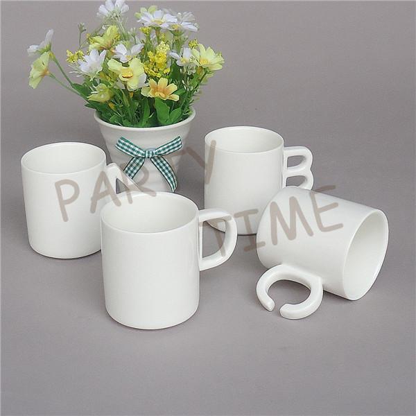 Ceramic coffee mug, letter shape handle, white tea cup(China (Mainland))