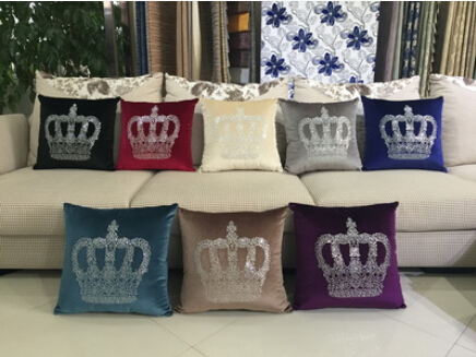 Rhinestone multicolor European luxury fashion creative plush pillow cover crown decorative home sofa cushions pillowcases