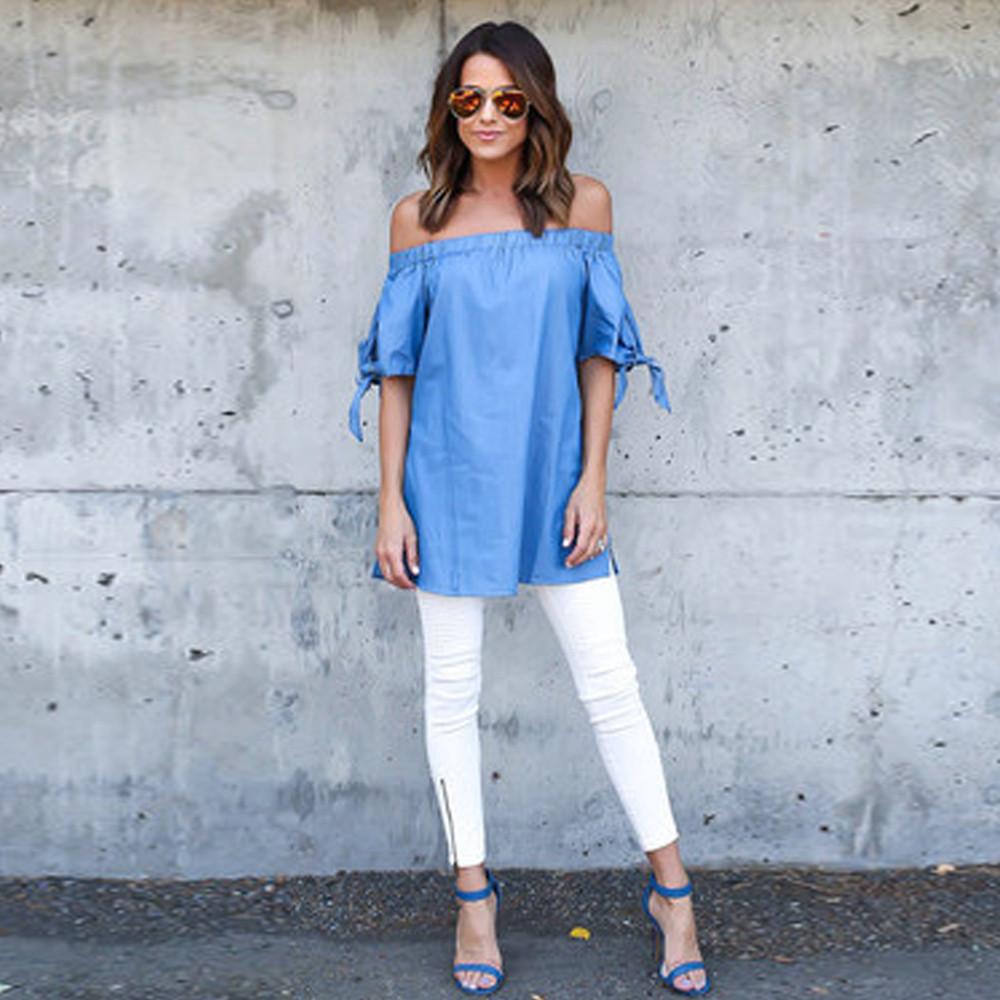 harajuku Fashion Women's Sexy Simple Elegant Blue Bow T-shirt 2016 new arrive fashion women's t-shirts brand luxury famous(China (Mainland))