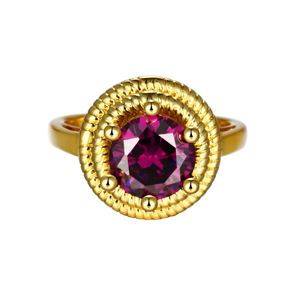 Fashion Large Rings Vintage Cz Diamond Ring With Amethyst Stone Rose Gold Plated Jewelry For