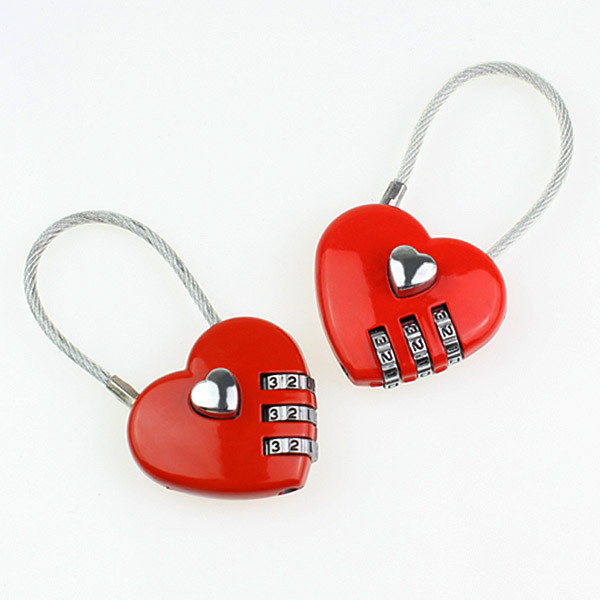 Resettable Heart Shape Cable Combination Padlock Mini Love Travel Lock for Luggage Suitcase Bag(China (Mainland))